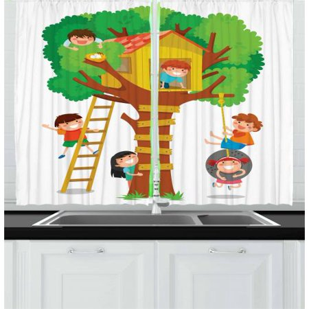 Kids Curtains 2 Panels Set, Cheerful Little Boys and Girl Playing in a Tree House Happy Childhood Friends Cartoon, Window Drapes for Living Room Bedroom, 55W X 39L Inches, Multicolor, by Ambesonne - Is Happy Tree Friends For Kids