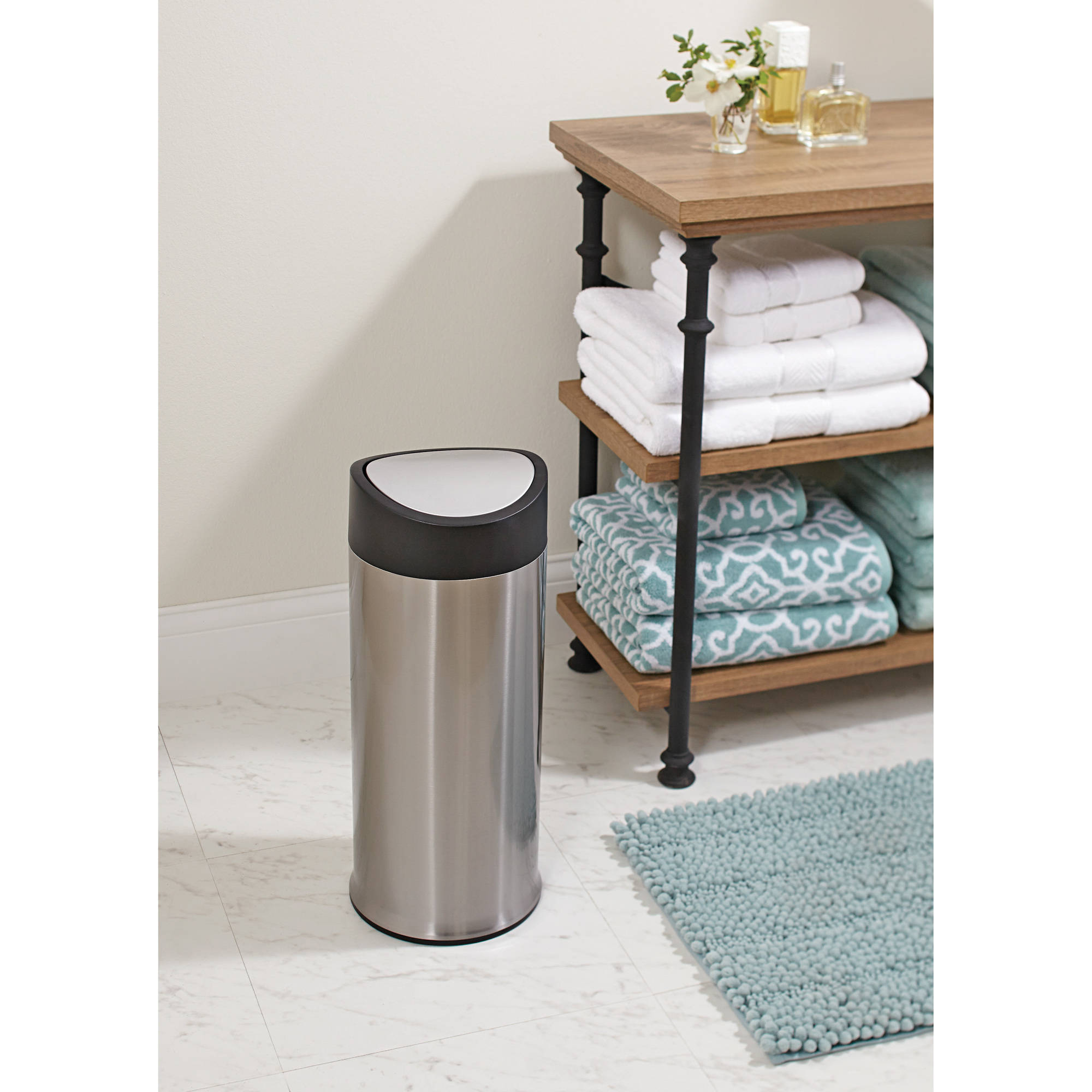 Better Homes and Gardens Stainless Steel 12L Round Slide On Swing Top Trash Can