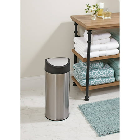 better homes garden 3 1 gallon stainless steel round slide on swing top waste can. Black Bedroom Furniture Sets. Home Design Ideas