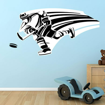 - Hockey Player Wall Decal By Style & Apply - Wall Sticker, Vinyl Wall Art, Home Decor, Wall Mural - Sd4018 - 16X8