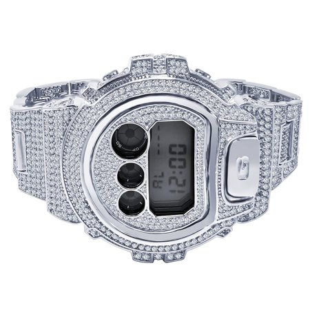 Mens White Gold Tone Fully Iced Out Simulated Diamonds Casio G-Shock DW6900 Custom Watch