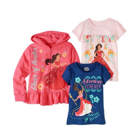 Elena Of Avalor Little Girls Hoodie And 2 Pack T Shirt Outfit Set