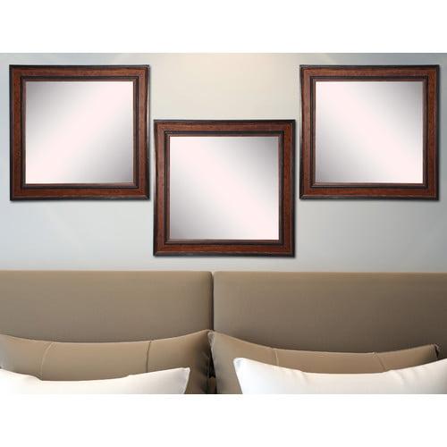 Rayne Mirrors American Made Rayne Country Pine Square Wall Mirror Set - Brown/Black
