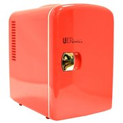 Uber Appliance UB-cH1 Uber chill Mini Fridge 6-can portable thermoelectric cooler and warmer mini fridge for bedroom, office or dorm (Uber Red)