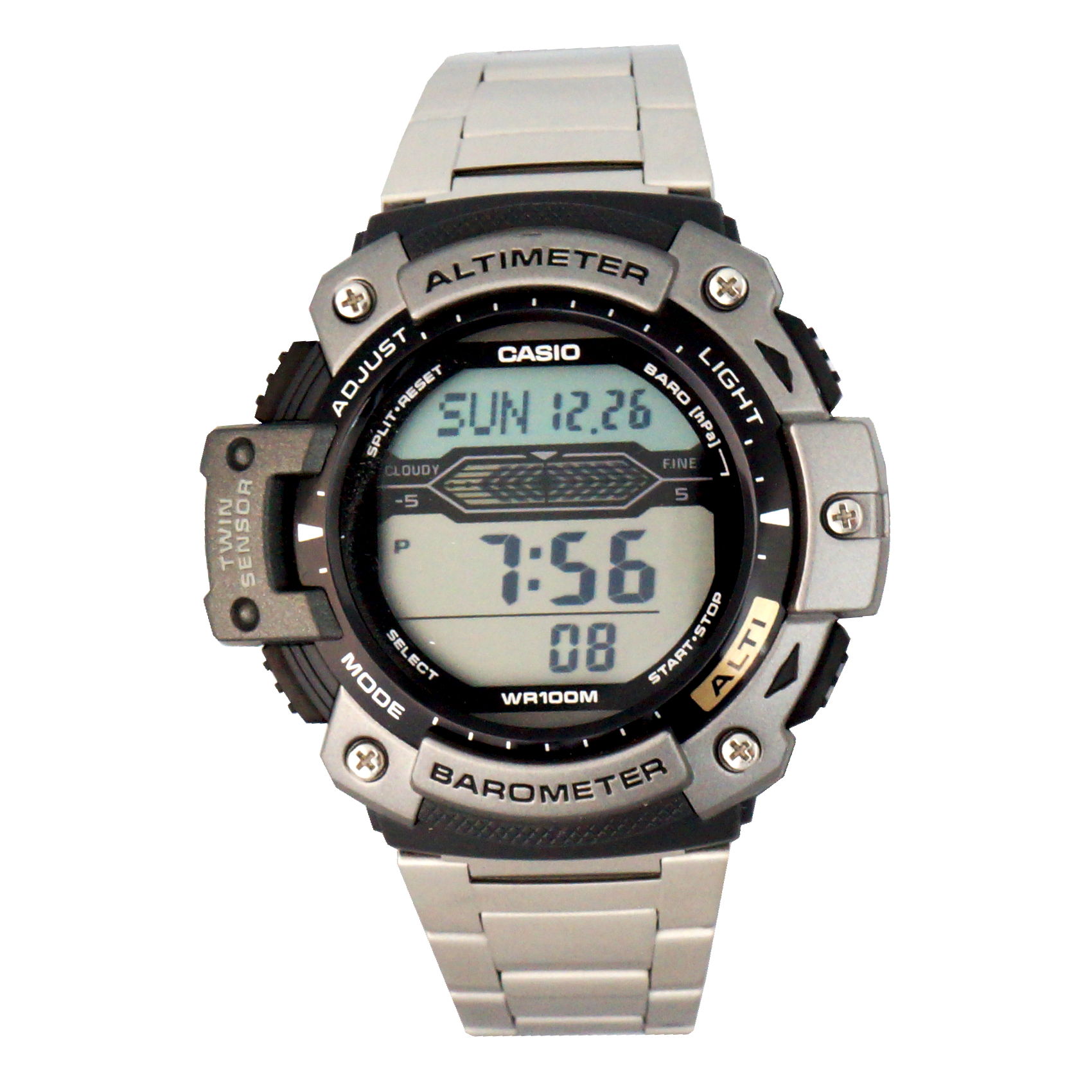 Casio Stainless-Steel Altimeter, Barometer, and Thermomet...