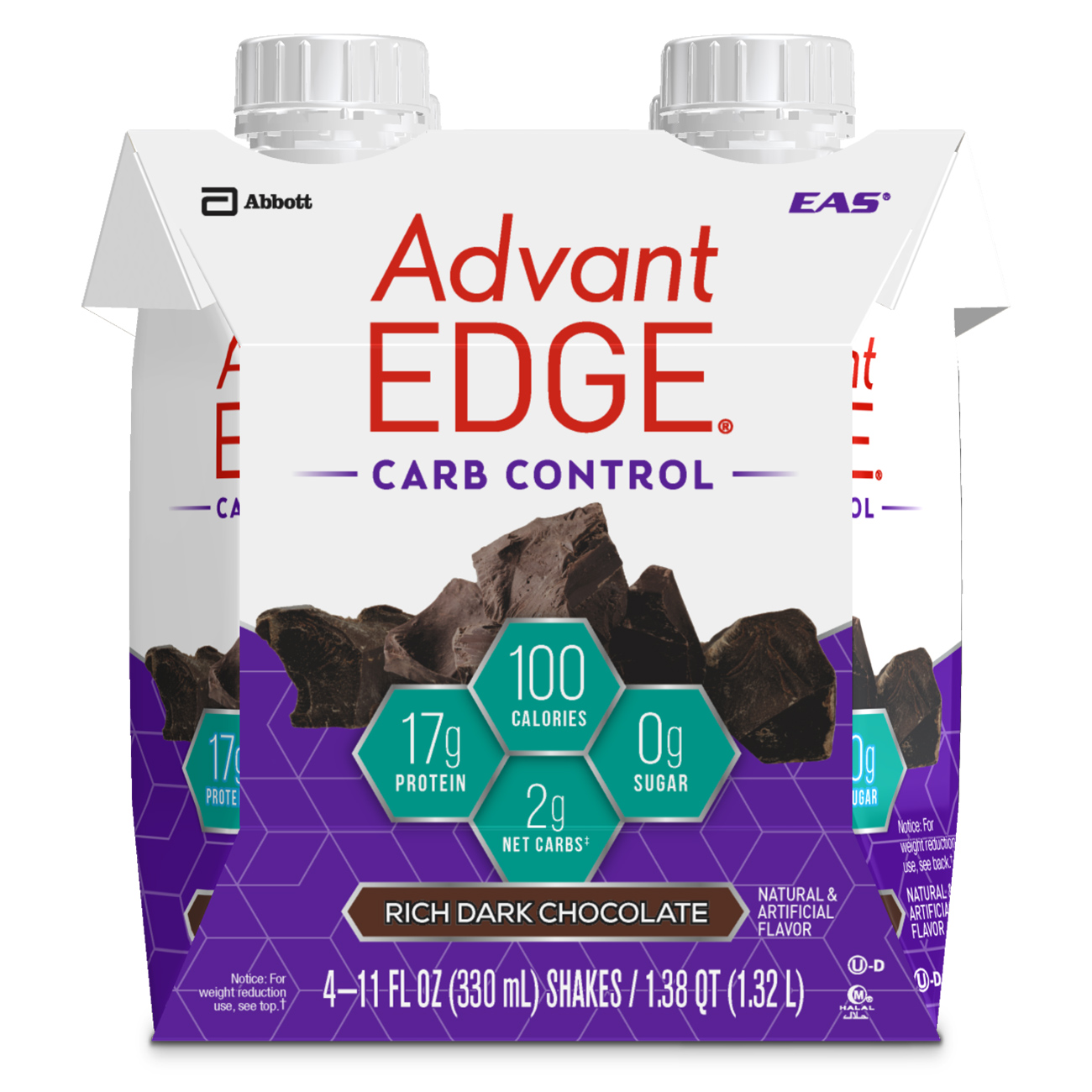 EAS AdvantEdge Pure Milk Deluxe Dark Chocolate Protein Shake 4-11 fl. oz. Cartons by Abbott Nutrition