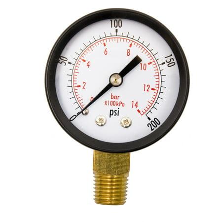 """2"""" Utility Pressure Gauge - 1/4"""" NPT Lwr Mount, 200PSI GSAD2012-200UPD"""