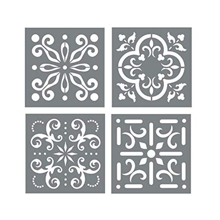 Football Stencil Marking - Mexican Tile Stencil Set - Pack of Four 4x4 Tile Stencil Designs - Wall or Floor Tile Stencils for Making Mosaic Tile Stencil Patterns