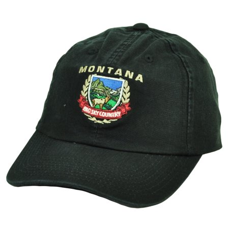 Montana Hat Cap - Montana Big Sky Country State Black Hat Cap USA America Relaxed Adjustable MT