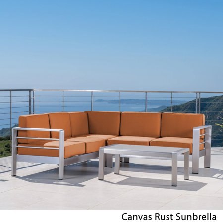 - Christopher Knight Home Cape Coral Outdoor Aluminum 4-piece Sofa Set with Cushions (Optional Sunbrella) by