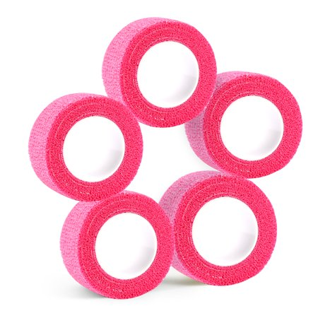 Jeobest Elastic Self Adhesive Bandage Wrap - 5 Pack Self Adherent Wrap Tape Cohesive Bandages Flexible Stretch Elastic First Aid Tape for Sport Sprain Swelling and Soreness (1 inch x 5 Yards) Pink MZ