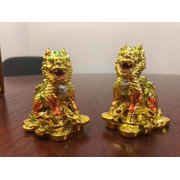 Feng Shui Pair of Gold Elegant Chi Lin Dragon Horse on Gold Coins麒麟 Wealth Lucky Statue Figurine Home Decor Housewarming Congratulatory Gift W/ Chinese Royal Yellow Gift Box