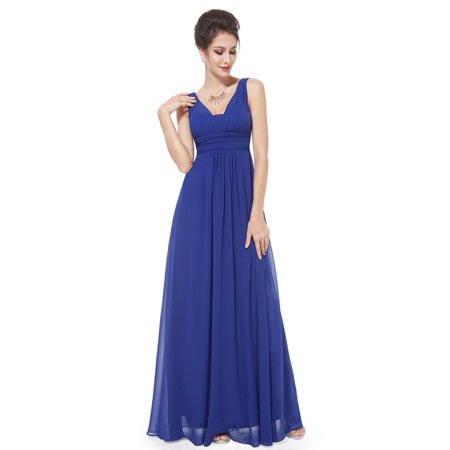 a8013d5e033 Ever-pretty - Ever-Pretty Women s Floor Length V Neck Semi Formal Evening  Prom Cocktail Homecoming Gradual Party Dresses for Women 08110 (royal blue  6 US) ...