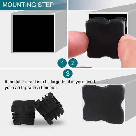 """Square Tube Insert Cover Furniture Protector for 0.87"""" to 0.94"""" Inner Size 10pcs - image 5 de 7"""