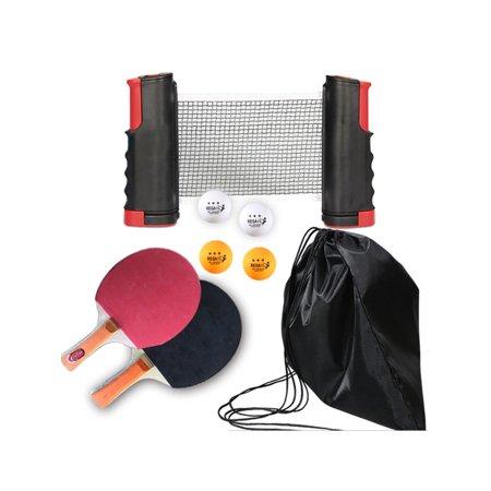 Table Tennis Net Post Set 2 Player with Racket Mini Posts Portable Bags Balls Extendable Sports Portable Mini Post