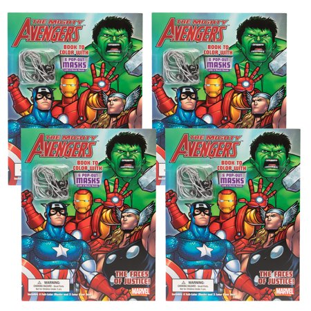 Dalmatian Press (4 Pack) Avengers Comic Book Superhero Coloring Book Party Favors For Kids Toys Cut Out - Avengers Cut Out