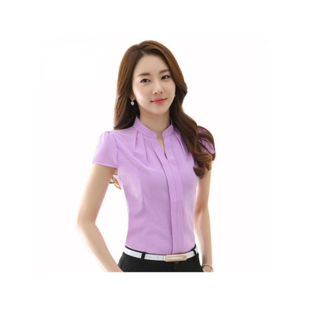 Womens V Neck Stand Collar Short Sleeve Office Shirts Blouse