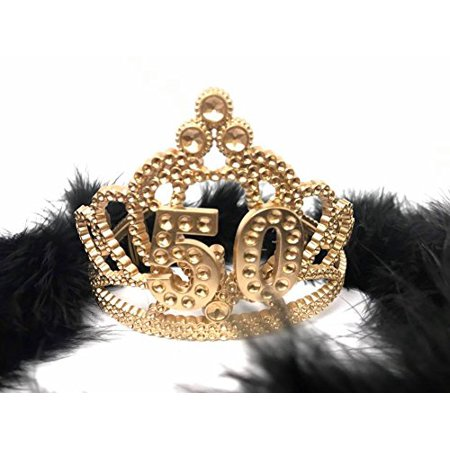 50th Birthday Princess Tiara Gold Crown with Black Feather Boa Party Princess Plastic Tiara](Gold Feather Boas)