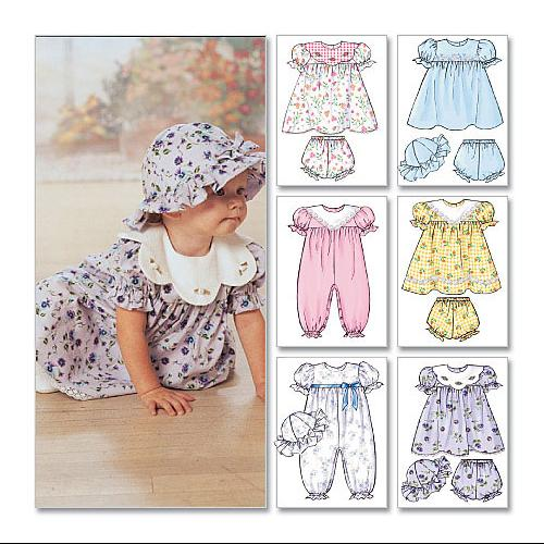 Infants' Dress, Panties, Jumpsuit and Hat - All Sizes in One Envelope Pattern