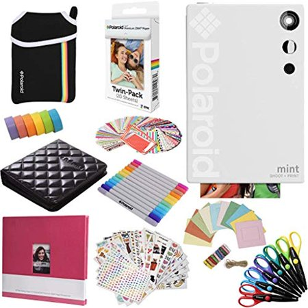 Polaroid Mint Instant Digital Camera (White) All-in-Bundle + Paper (20 Sheets) + Deluxe Pouch + Photo Album + 9 Unique Sticker Sets + Markers + Scissors + Border Stickers and So Much More - image 5 of 7