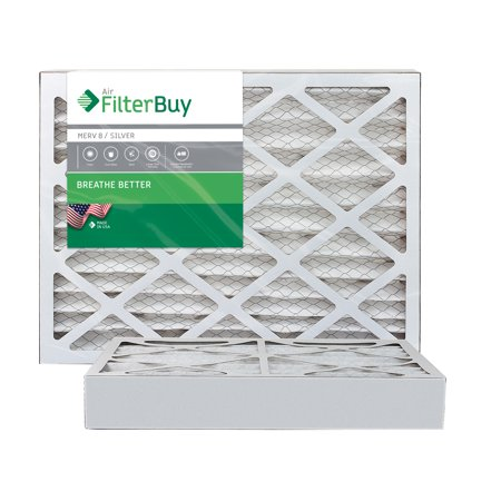 AFB Silver MERV 8 16x25x4 Pleated AC Furnace Air Filter. Pack of 2 Filters. 100% produced in the USA.