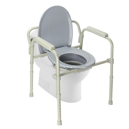 LIVINGbasics Commode Chair Aluminum alloy Toilet Seat Chair With Folding Commode Bucket, 7 Position - image 4 of 8
