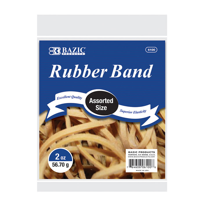 (Price Case of 36)Bazic Products 6100-36 2 Oz.  56.70 G Assorted Sizes Rubber Bands by Bazic Products