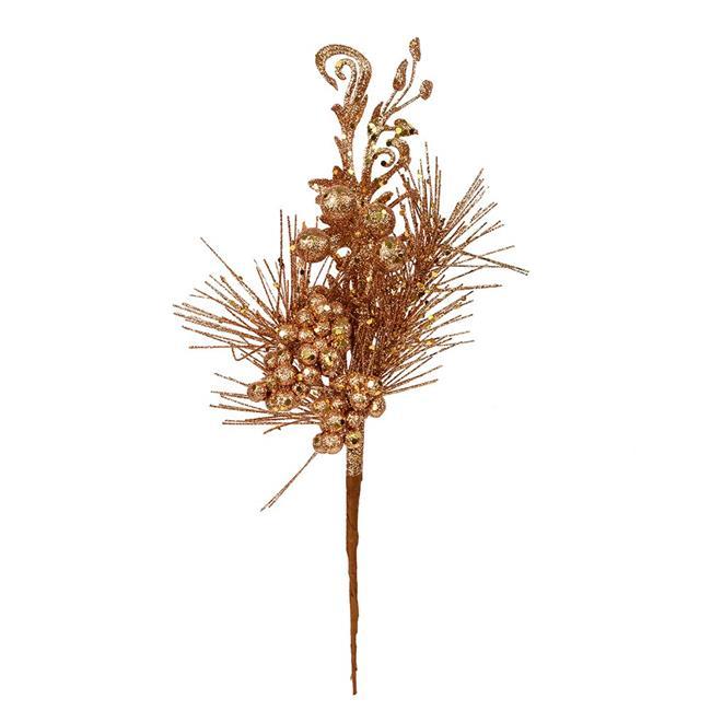 "Vickerman 555286 - 10"" Honey Gold Berry Glitter Leaf Pick (12 pack) (L185537)"