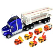 Super Construction Power Trailer Children's Friction Toy Truck Ready To Run Big Size w/ 6 Toy Construction Trucks, Lights, Sounds (Colors May Vary)