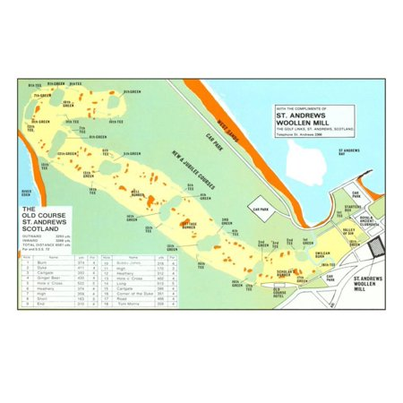 Map of St. Andrews Golf Course Print Wall Art