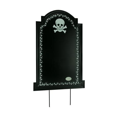 Black Metal Skull Halloween Tombstone Chalkboard Sign Yard - Plywood Halloween Yard Art