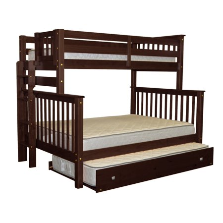 Bedz King Bunk Beds Twin Over Full Mission Style With End Ladder And A Trundle Cuccino
