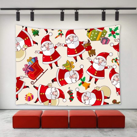 CADecor Christmas Decor Tapestry,Christmas Gifts Tree Reindeer Jingling Bell Sled Stocking Sock Candy Cane Funny Cartoon Santa Claus Seamless Pattern Wall Tapestry 60x80 inch