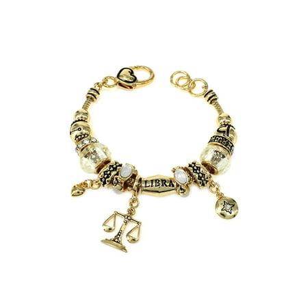 - Gold Tone Zodiac Libra Cute Girls Bead Charm 7.5