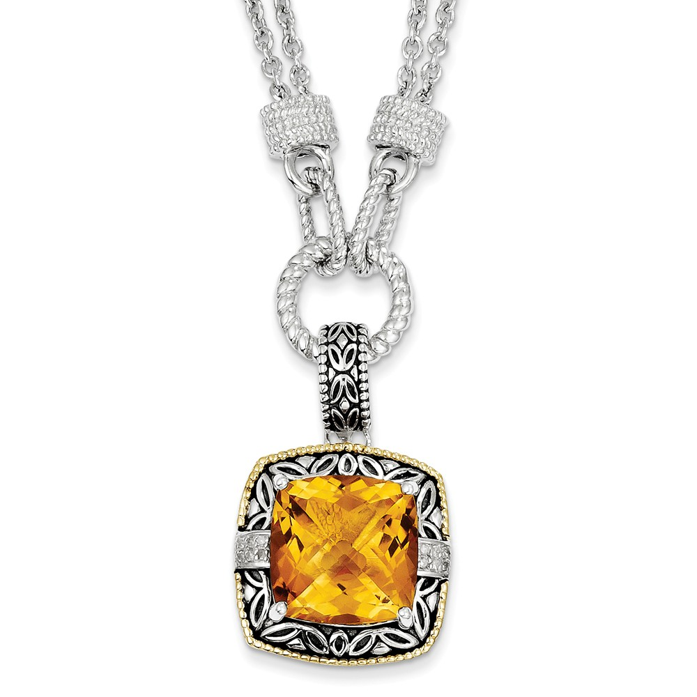 """14K Gold and 925 Sterling Silver Two-Tone (0.06cttw) with Citrine and Diamond Necklace -17"""" (17in) by"""