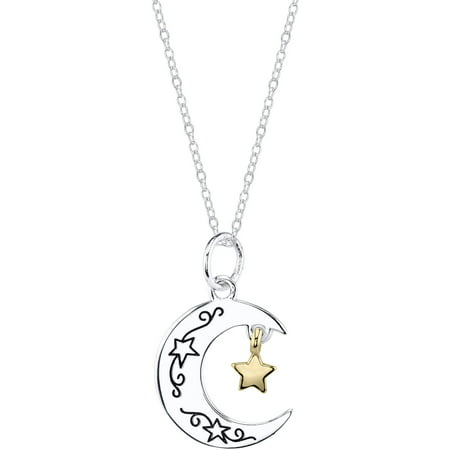 Sterling Silver Two-Tone I Love You To Moon Necklace (Over The Moon Necklace)