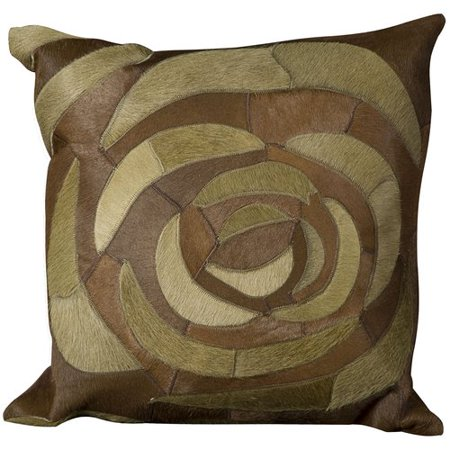 Natural Leather Hide Pillow, C5100, Green, 20