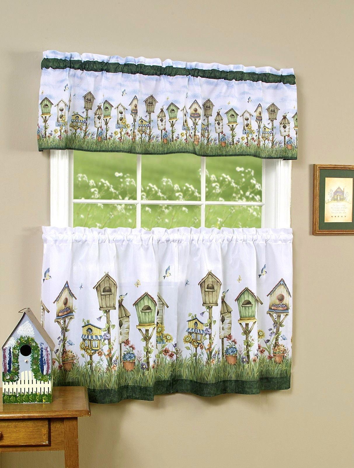 Window bird house - Birdhouse 3 Piece Kitchen Curtain Tier Valance Set 36 In Long Walmart Com