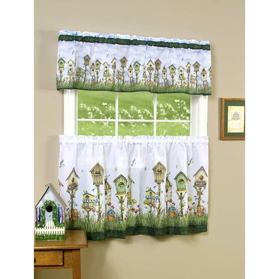 Birdhouse 3 Piece Kitchen Curtain Tier & Valance Set