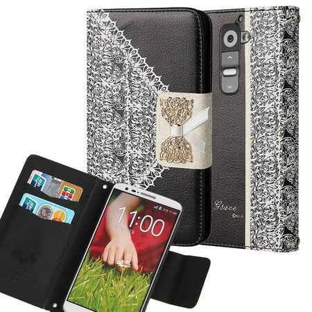 LG G2 / D802 Bow Luxury PU Leather Flip Case Wallet Cover Black