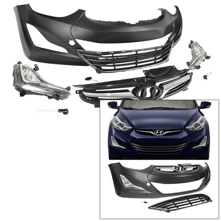 For 14-16 Hyundai Elantra Sedan Front Bumper Cover Kit with Grille Fog (S500 Front Bumper Cover)