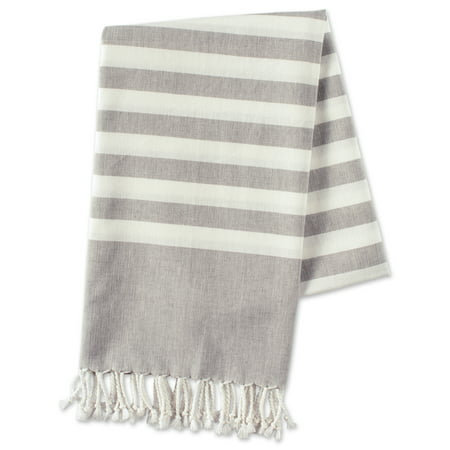 100 Percents Cotton, Soft & Absorbent Decorative Turkish Fouta Towel With Twisted Fringe For Home, Beach, Pool, Or Décor, Use As Blanket Or Throw   Grey Stripe By E Living Store by E Living Store