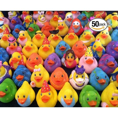 Play Kreative Rubber Ducky Assortment - Pack of 50 2 Inch Rubber Ducks for Kids - Rubber Ducky Punch