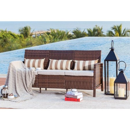 Suncrown Outdoor Modular Furniture Patio Sofa Couch (Seats 3) Garden, Backyard, Porch or Pool | All-Weather Wicker with Cushions | Easy to