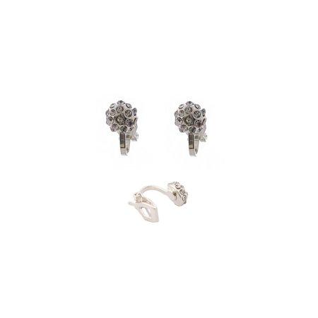 Wedding Earrings Silver Crystal Button Clip On Earring (Crystal Wedding Earrings)