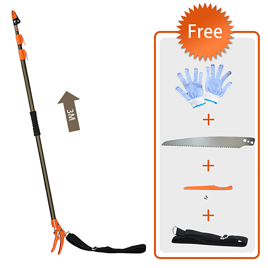 Finether Telescopic Long Reach Aluminum Cut & Hold Pole Pruner and Saw