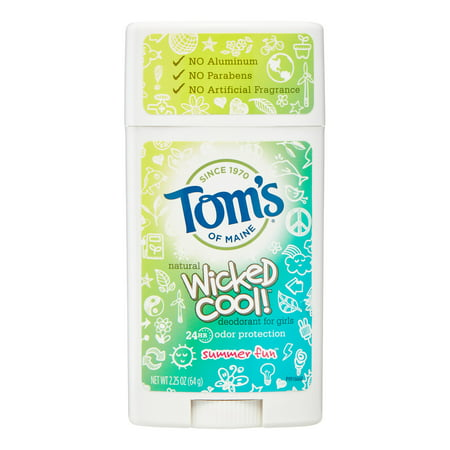 Tom's of Maine Wicked Cool Girl's Deodorant Stick, Summer Fun, 2.25
