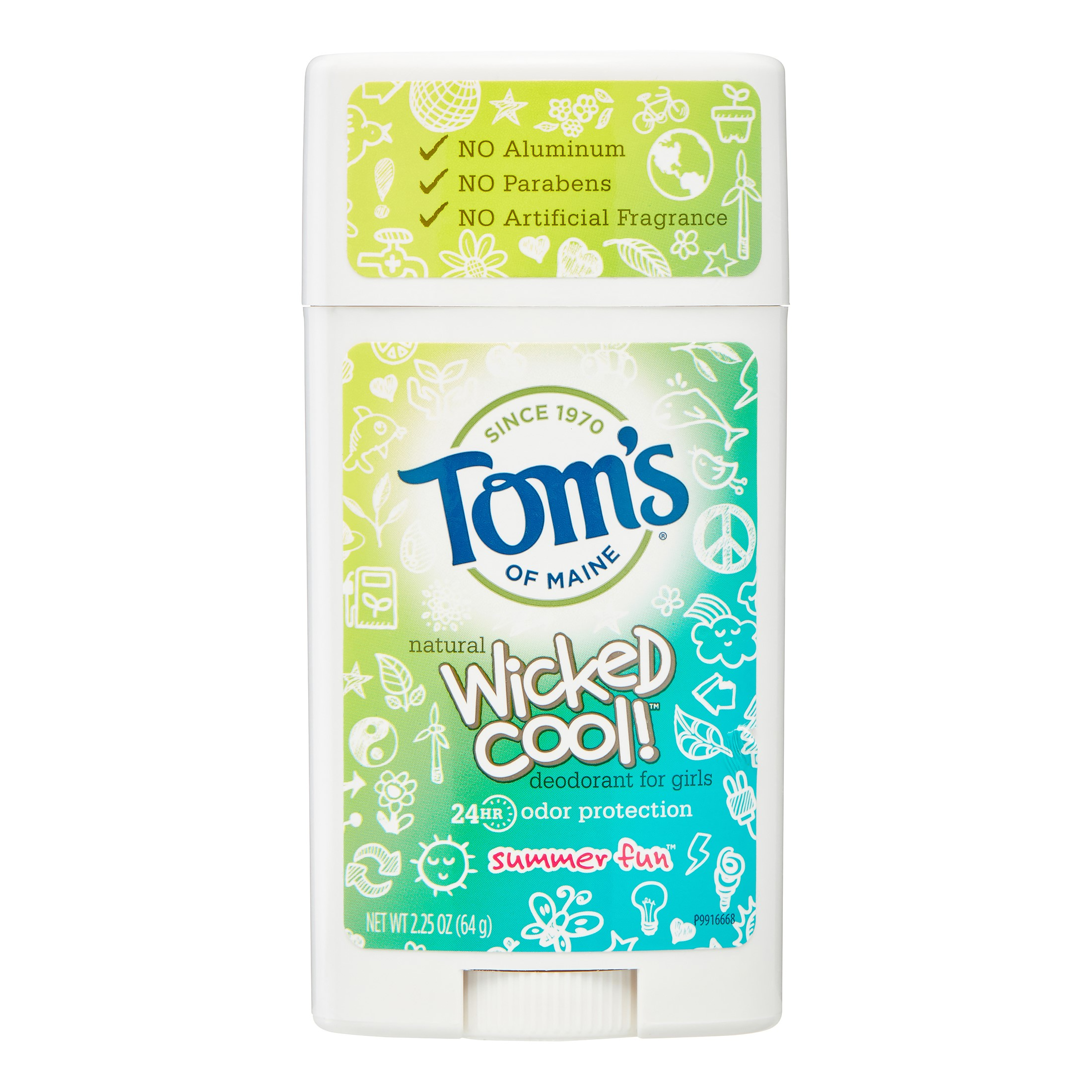 Tom's of Maine Wicked Cool Girl's Deodorant Stick, Summer Fun, 2.25 Oz