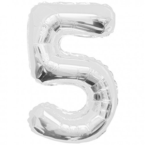 "34"" Jumbo Number 5 Foil Balloon- Silver"