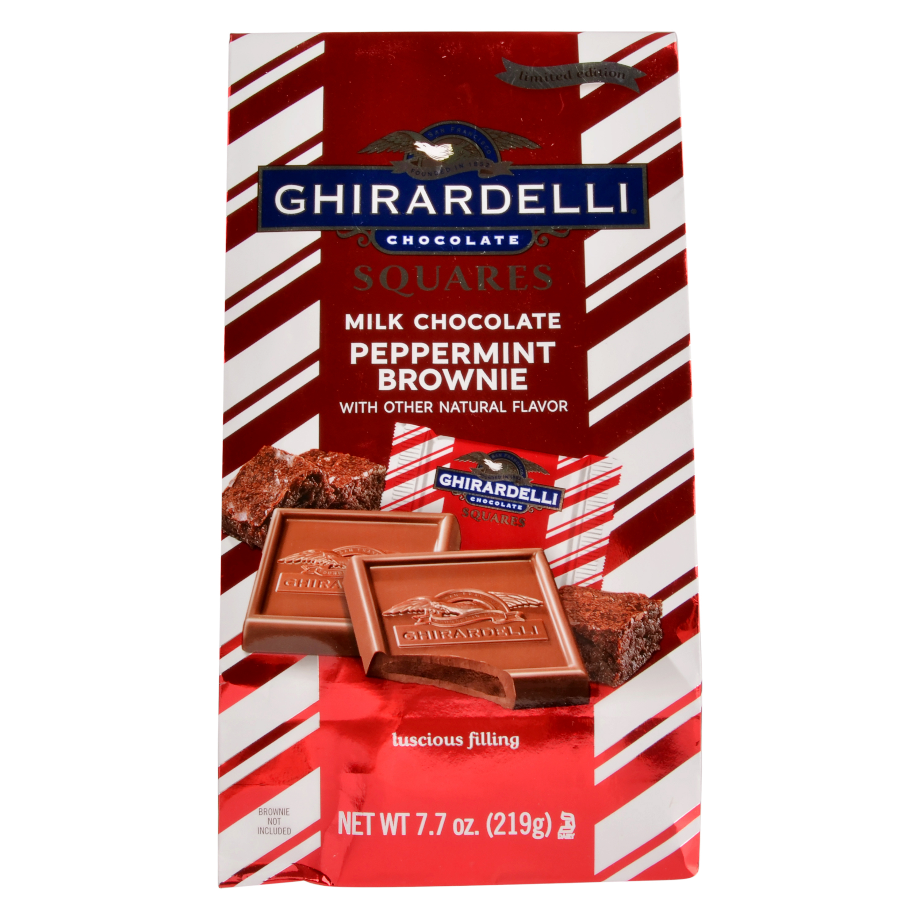 Ghirardelli Chocolate Squares, Milk Choocolate Peppermint Brownie, 7.7 oz